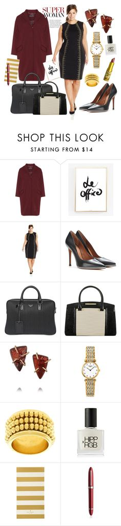 """Working Style - A Little Red"" by virtudiaries ❤ liked on Polyvore featuring Manon Baptiste, Calvin Klein, Givenchy, Emporio Armani, Brahmin, Melissa Joy Manning, Longines, Chaumet, RGB and Kate Spade"