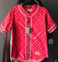 d4d74052656 Supreme Louis Vuitton Jacquard Denim Baseball Jersey Red Size XS - S +  Receipt