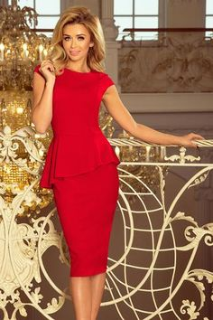 Red Elegant Numoco Midi Dress with frill Sexy Dresses, Best Maxi Dresses, Elegant Midi Dresses, Dress Suits, Beautiful Dresses, Fashion Dresses, Modern Outfits, Sexy Outfits, Sheath Dress