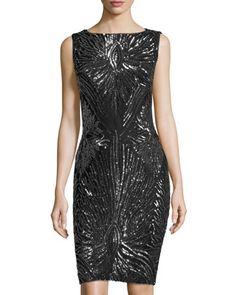 Marina+Sequin+Sheath+Dress,+Black/Silver++by+Marina+at+Neiman+Marcus+Last+Call.