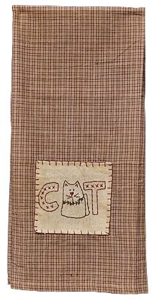 Country Cat Towel - Kruenpeeper Creek Country Gifts. Idea- gingham dog / calico cat!
