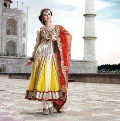 $134.42 Yellow Full Sleeve Faux Georgette and Net Long Anarkali Salwar Kameez 21731