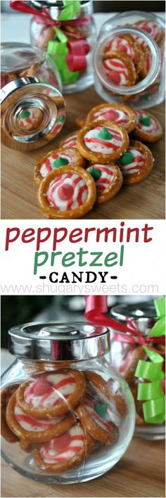 Peppermint Pretzel Candy: just a few simple ingredients to make this delicious treat. Great as gift, fill some jars!!
