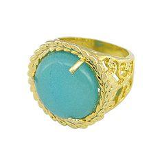 #Anel #folheado a ouro, contendo uma pedra natural Água Marinha. - Código: AN0383 - Preço 78,30 - Garantia de 1 ano pós compra. Compre em: www.imagemfolheados.com.br/?a=76729