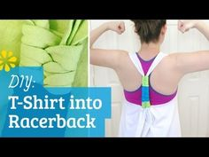 How to cut a T-shirt into a tank top with braided racerback ✂ Great for the gym, to wear over swim suit or a bandeau. Can use different colors in the racerback braid!