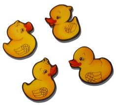 "Amazon.com: [4 Count Set] Custom and Unique (2.5"" x 3"" Inch) Custom & Unique Assorted Cartoon Little Rubber Ducks Design Iron On Embroidered Applique Patch {White, Orange, Yellow, & Black Colors}"