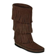 Minnetonka Womens 3 Layer Fringe Calf Hi Moccasin Boots Dusty Brown, Women's, Size: 10 - 1638-DUSTY-10