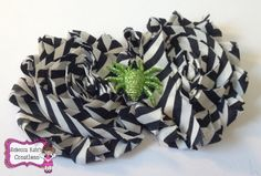 Black + White Striped Shabby Halloween Headband/Choose your own elastic!FREE SHIPPING!