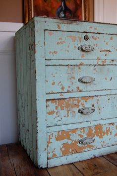 Industrial Aqua Vintage Wooden Farmhouse Drawer Unit by sugarSCOUT, $168.00