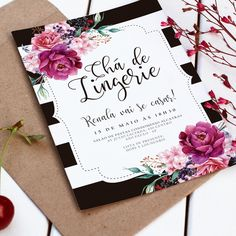 convite digital chá de lingerie Shadi Card, Wedding Cards, Wedding Day, Sixteen Candles, Crystal Wedding, Marry Me, Shower Gifts, Party Invitations, Bridal Shower