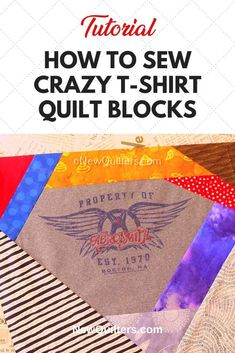 Tired of boring t-shirt quilts? Photo tutorial from NewQuilters.com shows you how to turn tee shirts into dramatic quilt blocks that make fabulous memory quilts and also use up your scraps! #t-shirtquilt #crazyquilt #scrappyquilt #quiltpiecing #tshirtquiltideas Quilting For Beginners, Quilting Tips, Scrappy Quilts, Easy Quilts, Crazy Quilt Blocks, Memory Quilts, Girl Scout Crafts, Shirt Quilts, Foundation Piecing