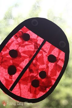A fun preschool craft for kids to make a Ladybug Sun Catcher great to match with Yoo Hoo Ladybug by Mem Fox bringing the book alive through crafts