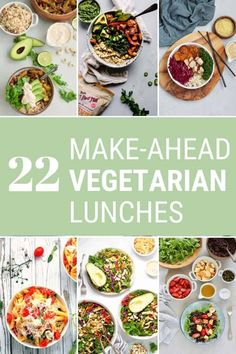 22 Vegetarian Lunch Ideas: here are 22 healthy and delicious packable salads and bowls that are easy to throw together, perfect for meal prep, and quick to grab on your way out the door. From make-ahead pastas to vegan Buddha bowls, there's something for everyone here! #vegetarian #lunch #lunchideas #vegan #makeahead #mealprep #easy #healthy #quick #onthego Quick Healthy Lunch, Healthy Meal Prep, Healthy Recipes, Make Ahead Lunches, Prepped Lunches, Easy Vegetarian Lunch, Vegetarian Appetizers, Easy Meal Prep, Easy Meals