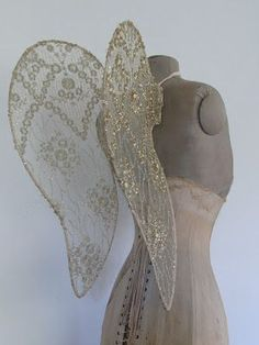 Victorian Times mannequin / dress form with gold accented lace wings