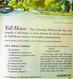 'Toll house cookies' 'Forgotten Cookies' and Glogg (Scandanavian Mulled Wine) Retro Recipes, Old Recipes, Vintage Recipes, Cookbook Recipes, Sweet Recipes, Recipies, Family Recipes, Galletas Cookies, No Bake Cookies