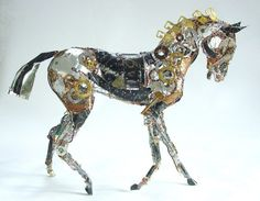 Recycled Running Horse Sculpture (2) by Barbara Franc