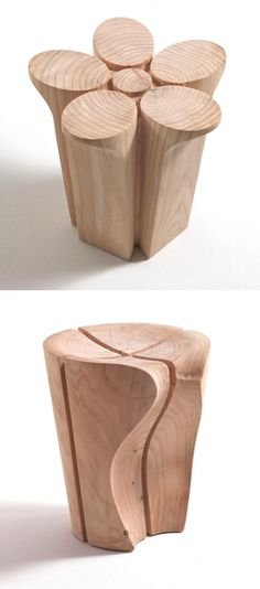5-axis CNC milled cedar stools Karim Rashid