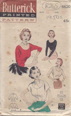 "Schnittmuster 1950er Vintage B38"" Bluse R265 | eBay - butterick 6620"