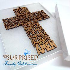 "DECORATIVE WOODEN CROSS 6 3/4"" Our Father prayer. Laser Cut hanging cross + gift box. Baby Crib cross. Communion favor. Baptism-Wedding"