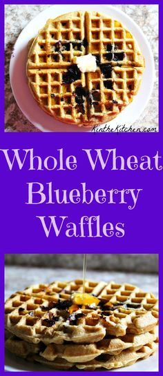 Whole Wheat Waffles + Blueberries = Breakfast winner!