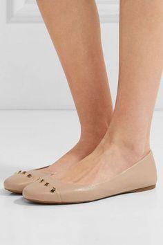 MICHAEL Michael Kors - Valencia Studded Leather Ballet Flats - Beige - US9.5