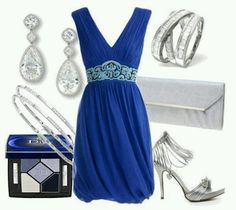 silver in royal blue dress