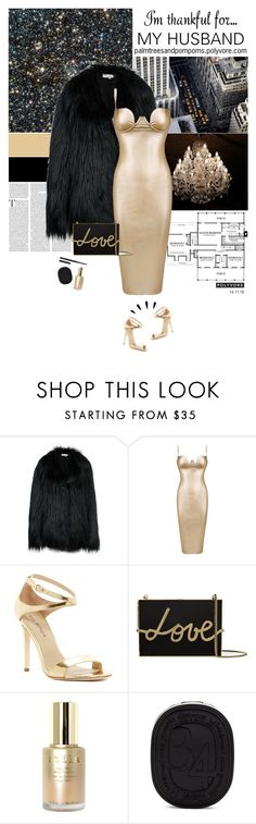 """""""I'm Thankful for... / Honey couture metallic gold vegan leather bodycon dress"""" by palmtreesandpompoms ❤ liked on Polyvore featuring STELLA McCARTNEY, Via Spiga, Old Navy, Lanvin, Stila, Diptyque, NARS Cosmetics, imthankfulfor, popmap and honeycouture"""