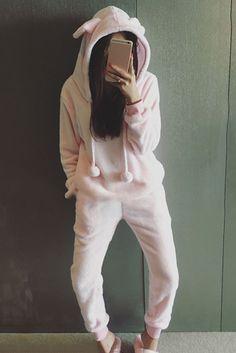 Cute Hooded Long Sleeve Pure Color Pocket Design Women's Sleepwear Suit