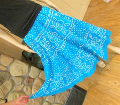 Bright Turquoise Blue Mirror Work Tie-Dye Skirt by RumiCollections