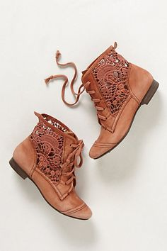 Irene Lace Booties in moss $130