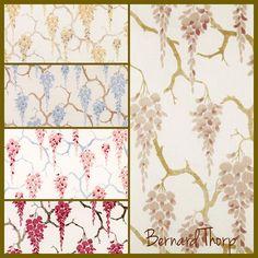 Sakura Hand Screen Printed Linen Fabric. Also available as wallpaper. #bernardthorp #masterartisans #madeinlondon #madeinengland #chelsea #linenwallpaper #grasscloth #blossom