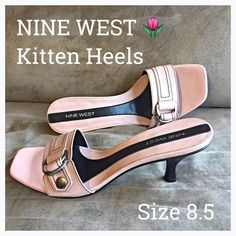 """Nine West Dusty Rose Kitten Heel Slides 8.5 Lovely, Classy Feminine kitten heels by Nine West. Dusty Rose/light pink/blush leather upper with buckle accent. Lightly padded insole -stacked heel approx 3.25"""". New never worn but shelf/handling wear near footbed area. Barely noticeable but please view all photos. Size 8.5 Nine West Shoes Heels"""