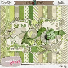 Full of soft greens and browns, Lucky is the perfect kit to scrap all the lucky ones in your life. With shamrock elements, this kit is perfe...