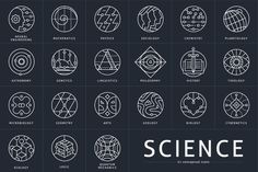 Conceptual scientific icon set. Neural Engineering, Mathematics, Physics, Sociology, Chemistry, Planetology, Ecology, Astronomy, Genetics, Linguistics, Philosophy, History, Theology, Logics, Microbiology, Geometry, Arts, Geology, Biology, Cybernetics, Quantum Mechanics.