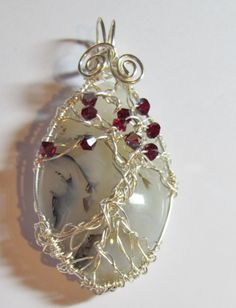 Tree of Life wire wrapped agate pendant