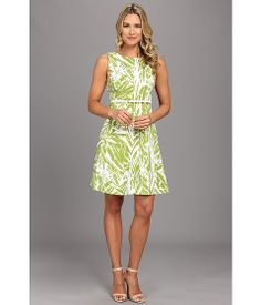Jessica Howard Multi Seamed Fit And Flare Dress w/ Belt Ivory/Lime - 6pm.com