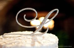 A-Z initial Wedding Cake Toppers in Elegant Script Letter Style with the Fine Set-In Rhinestones