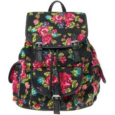 Black Embroidered Floral Backpack ($7.96) ❤ liked on Polyvore featuring bags, backpacks, black backpack, black knapsack, embroidered backpacks, black floral backpack and black faux leather bag