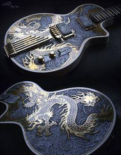 Golden Dragon Les Paul, une lutherie magnifique par iVee Guitars. Retrouvez des cours de guitare d'un nouveau genre sur MyMusicTeacher.fr