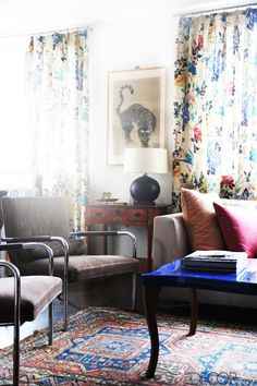 Floral Curtains and indigo table top in Indre Rockefeller's Apartment
