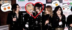 *left to right* Aoi looks like he finna blow his top bc of our latest shipment of Reita + Uruha fanservice can I get a heck yea also we got Kai over here enjoying the scene like 'finally' yea he know where it's at and then we got our lovely Ruki; the shmexiest man on earth being photogenic ohh darling how we love it when you smile :)