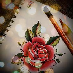 watercolor pencils, old school rose