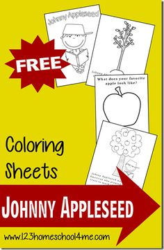Here are some fun and FREE printable Johnny Appleseed themed Coloring Pages, for Toddlers and Preschoolers to color, from 123 Homeschool