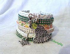 Bracelet manchette LIBERTY authentique Très Large tresse de simili cuir Le paon Fleuri fête des mères : Bracelet par libertylily