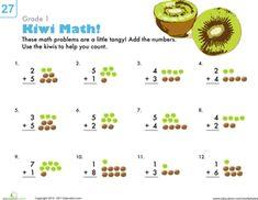 First Grade Addition Worksheets: Count 'Em Up: Kiwi Addition