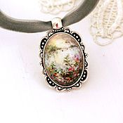 Polimer cllay, hand painted, acrylic paint, pendant, velvet ribbon. Полимерная глина, ручная роспись,