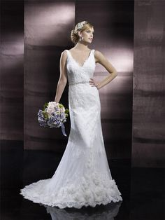 Discount 2015 Vintage Plunging Neckline Ivory Lace Backless Sheath Wedding Dresses with Beaded Sash Chapel Train Bridal Gowns Online with $152.87/Piece on Flodo's Store | DHgate.com