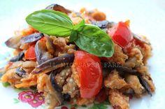Pane raffermo e melanzane con pomodorini: ricetta povera ma gustosa.Un'idea per utilizzare il pane raffermo e per arricchire le semplici melanzane a funghetto