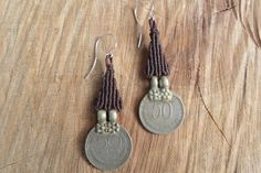 handmade macrame gypsy coin earring with 925 silver hook