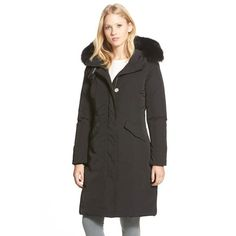 Woolrich Genuine Fox Fur Trim Long Down Parka (22 230 UAH) ❤ liked on Polyvore featuring outerwear, coats, black, black parka, woolrich coats, long parka coat, color block coat and long fox fur coat